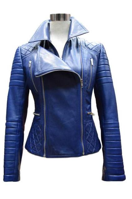 Ladies Blue Color Stylish Leather Jacket, Women Slim Fit Leather Jakcet, Ladies Fashion Jacket