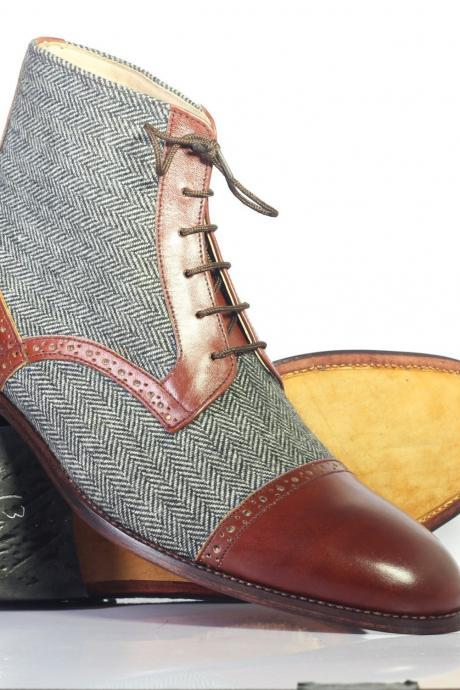 Handmade Men Tan & Grey Color Lace Up Boots, Men's Leather & Tweed Ankle High Cap Toe Boots, men boots