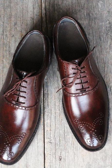 Men's Handmade Brown Brogue Dress Shoes, Men Lace Up Formal Leather Shoes