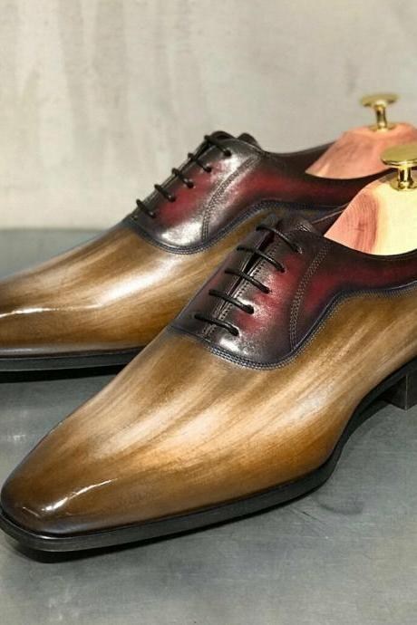 Men's Handmade Tan Burgundy Derby Shoes, Mens Lace Up Hand Painted Shoes, men leather shoes