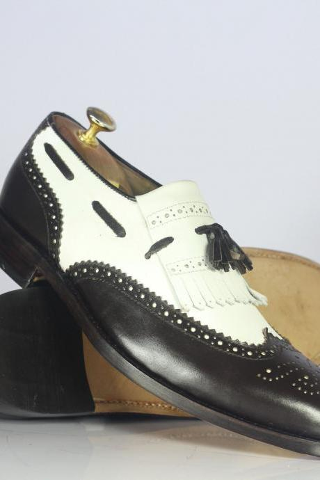 Men's Handmade Black & White Leather Tussle Shoes, Men's Wing Tip Fringe Shoes