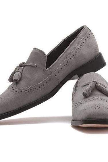Handmade Men Gray Suede Loafers, Men's Tassel Grey Shoes, Mens Casual Loafers