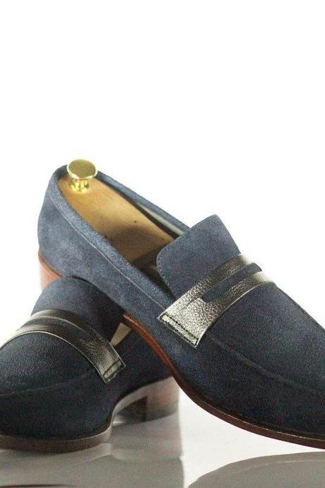 Men Handmade Navy Blue Suede Loafer Shoes, Men's Casual Dress Loafers, men shoes