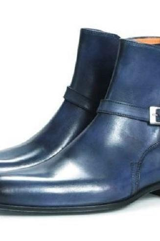 Handmade Men's Blue Jodhpurs Boots, Men Blue Ankle High Boots, mens boot