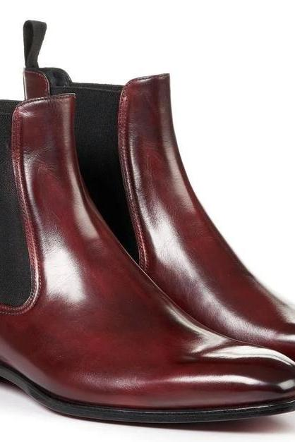 Handmade Men's Burgundy Chelsea Boots, Mens Ankle High Formal Leather Boots, men boots