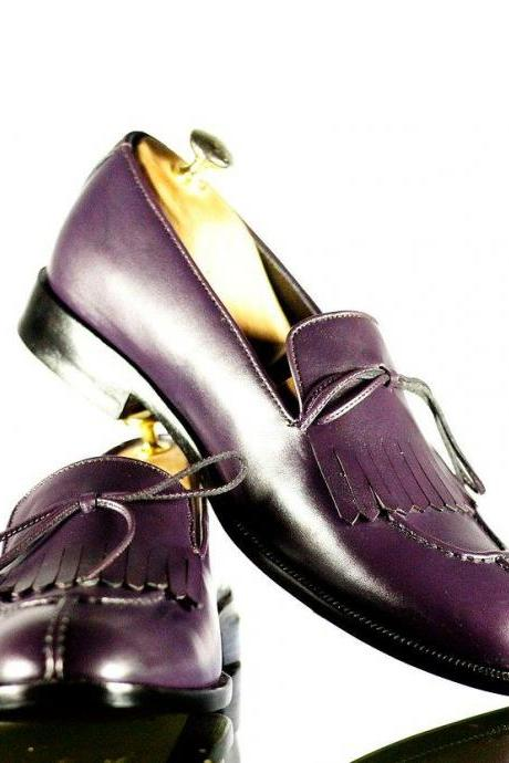 Men Handmade Purple Color Fringes Loafers, Men's Split Toe Casual Shoes, mens shoes