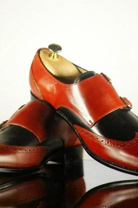 Men Handmade Burgundy Black Wing Tip Leather Shoes, Men's Double Monk Strap Shoes, Men Leather Shoes