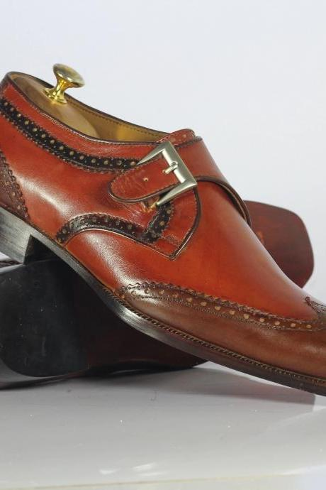 Men's Handmade Wing Tip Leather Shoes, Men's Brown Monk Shoes