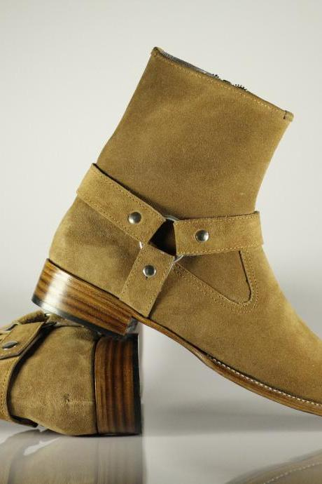 Bespoke Handmade Men Ankle High Madrid Strap Tan Color Boots, Mens Zipper boots, Men's Boots