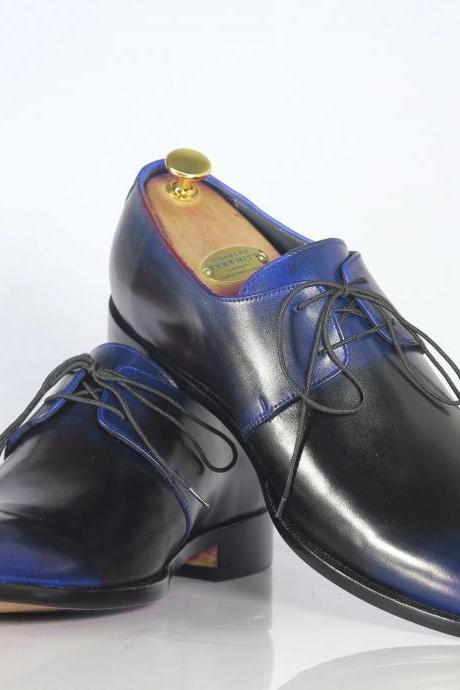 Men's Handmade Blue Color Black Leather Shoes, Men's Dress Lace Up Shoes