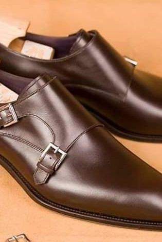 Men's Handmade Brown Double Monk Leather Shoes, Mens Designer Shoes, men shoes
