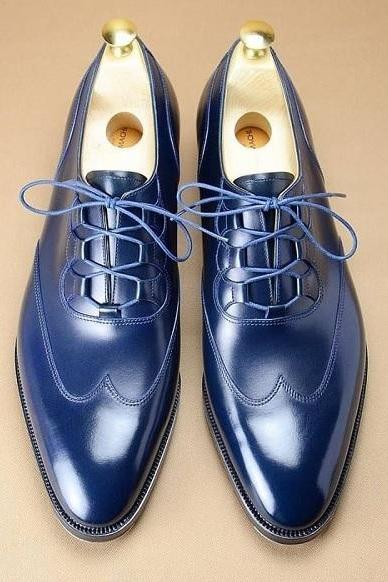 Handmade Men Blue Wing Tip Leather Shoes, Men's Formal Lace Up Shoes, mens shoes