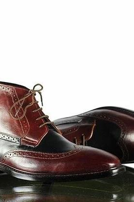 Handmade Men Leather Wing Tip Formal Boots, Men's Formal Black Burgundy Leather Boots
