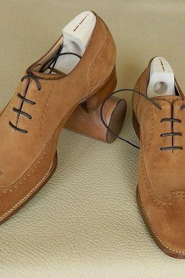 Men Handmade Suede Leather Brown Tan Formal Shoes