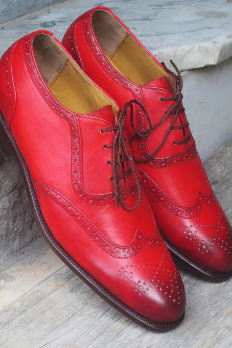 Stylish Men's Handmade Burgundy Leather Shoes, Men Wing Tip Brogue Dress Formal Shoes