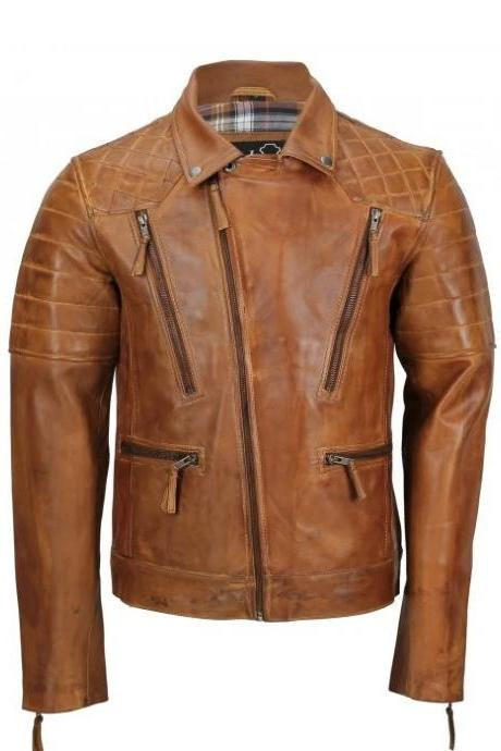 Men's Tan Casual Vintage Style Biker Leather Jacket, Men Formal Biker Leather Jacket