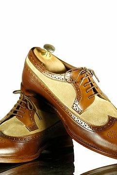 Handmade Mens Brown Beige Wingtip Leather Suede Shoes, Men's Brogue Formal Shoes, men shoes