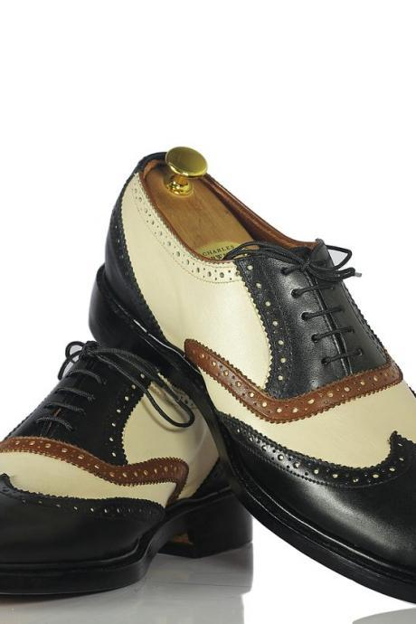Men Handmade Multi Color Wing Tip Formal Shoes, Mens Leather Brogue Shoes