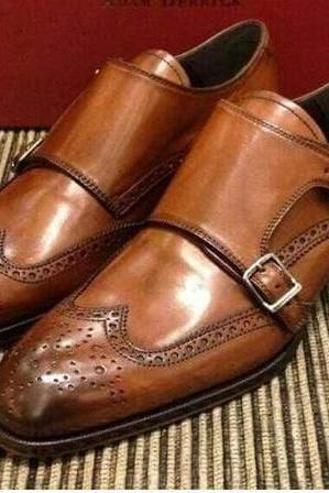 Men's Handmade Brown Monk Strap Shoes, Mens Wing TIp Formal Brogue Shoes, men shoes