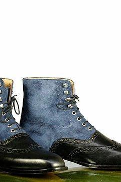 Handmade Men Black Blue Ankle High Boots, Men's Wing Tip Brogue Leather Suede Boots, mens boot