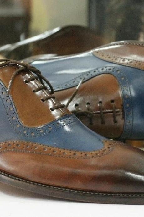 Men Handmade Brown Blue Leather Formal Shoes, Men's Wingtip Brogue Oxford Shoes, mens shoes