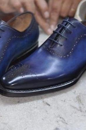 Men Handmade Blue Two Tone Leather Shoes, Men's Formal Brogue Lace Up Shoes, mens shoes