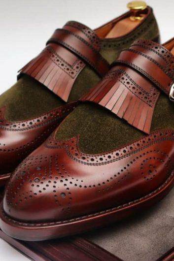 Mens Handmade Leather Suede Formal Shoes, Men's Oxford Wing Tip Monk Fringes Shoes