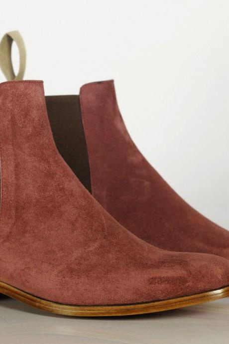 Handmade Men's Red Blood Suede Chelsea Boots, Men Ankle Boots, Men Designer Fashion Boots