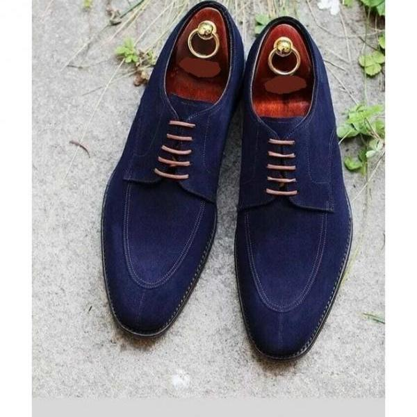 Handmade Mens Navy Blue Suede Shoes Men's Lace Up Dress Formal Shoes, Fashion Shoes