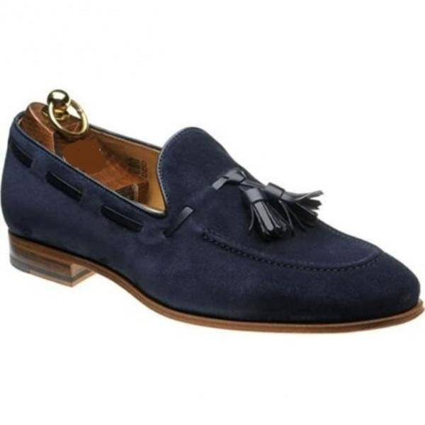 Handmade Men Blue Loafer Shoes, Men's Slip on Suede Tassels Casual Shoes, Casual Shoes