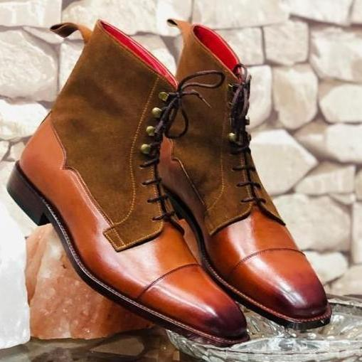 Bespoke Mens Handmade Brown Color Leather Suede Boots, Men's Cap Toe Stylish Boots, men leather boots