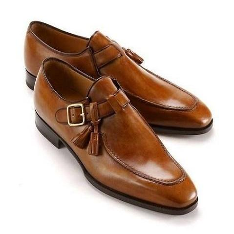 Handmade Mens Formal Tan Color Leather Shoes, Men Monk Strap Leather Shoes