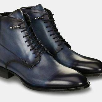 Handmade Men's Formal Ankle High leather Boots, Mens Navy Blue Lace Up Boots