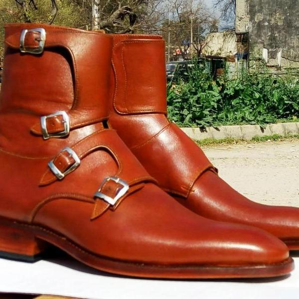 Handmade Mens Formal Triple Monk Boots, Men's Ankle High Stylish Tan Color Leather Boots